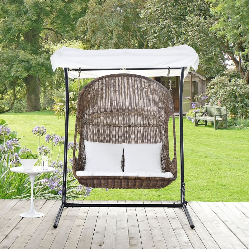 Vantage Outdoor Patio Swing Chair With Stand EEI-2278-BRN-WHI-SET