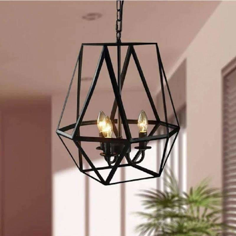 Warehouse of Tiffany, Shandie Antique Bronze Geometric Edison Chandelier with Bulbs LD4010,