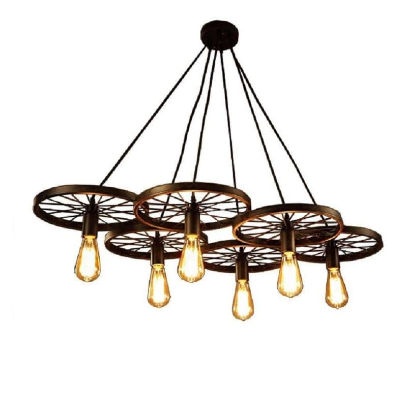 Warehouse of Tiffany LD4089-6 Wheel Edison Chandelier with Bulbs