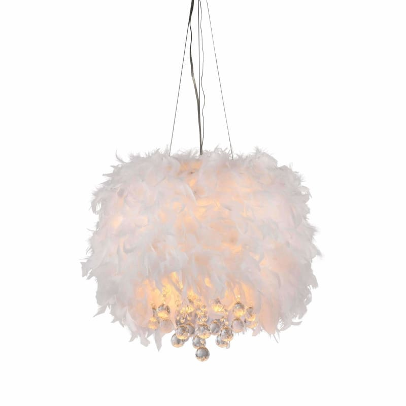 Warehouse of Tiffany RL1221 Iglesias Fluffy White Feathers Pendant Light