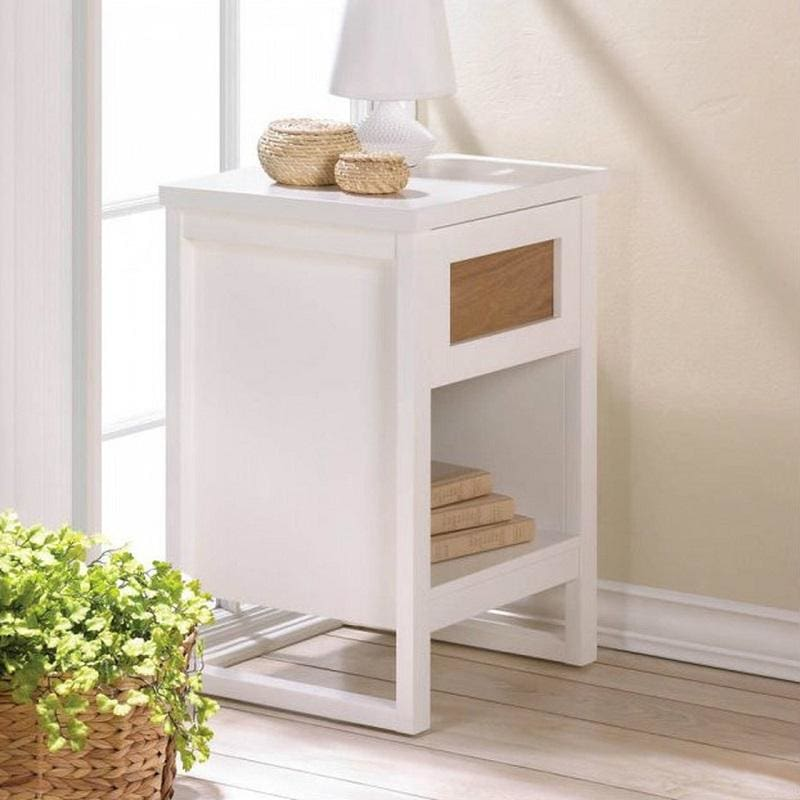 Wood Front White Side Table 10017524 by Accent Plus
