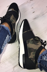 Two Toned Lace Up Trainers