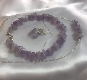 Sterling Silver Chipped Amethyst Bracelet