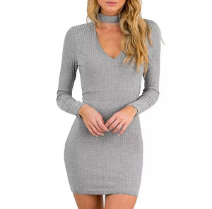 Ribbed Knit Choker Neck Dress