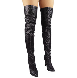 Glitter Over The Knee Boots