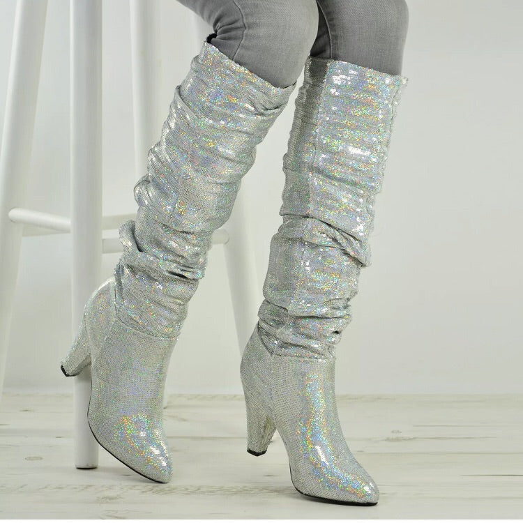 Slouch Knee High Silver Glitter Boots