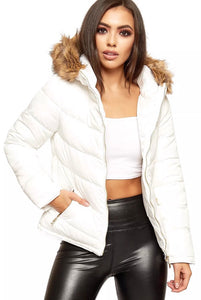 Quilted Faux Fur Hooded Puffer Jacket