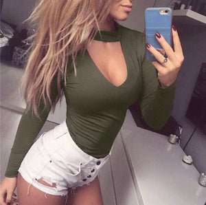 Choker V Neck Bodysuit