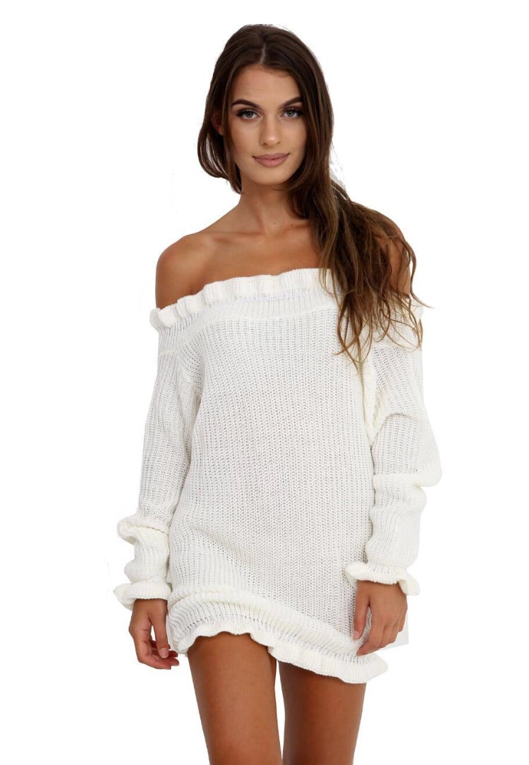 Off The Shoulder Knit Jumper Dress