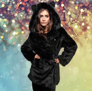 Cute Winter Faux Fur Hooded Coat