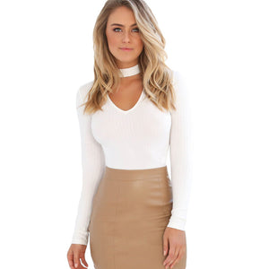 Deep V-Neck Choker Long Sleeve Top