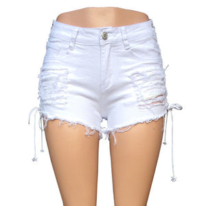 Liooil Lace Up Mid Waist Denim Shorts