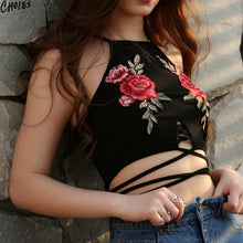 Floral Embroidery Cross Strap Crop Top