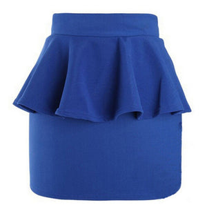 High Waisted Peplum Frill Pencil Skirt