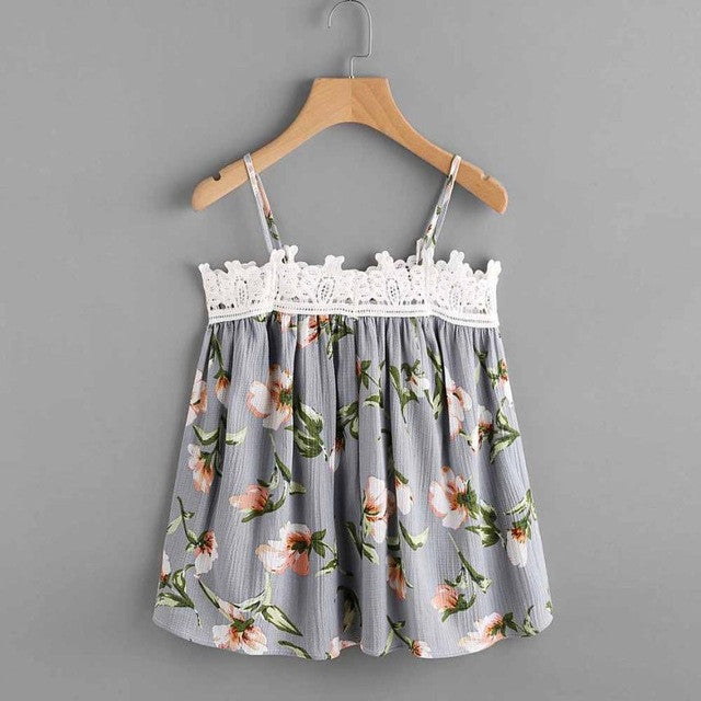Floral Printed Sleeveless Crop Top