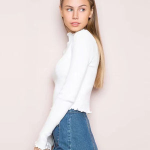 Ribbed Long Sleeve Cropped T-shirts