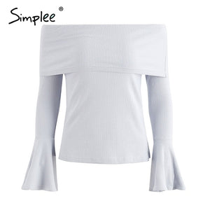 Simplee Flare Sleeved Off The Shoulder Top