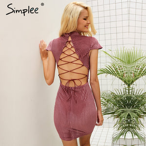 Simplee Lace up Vintage Dress