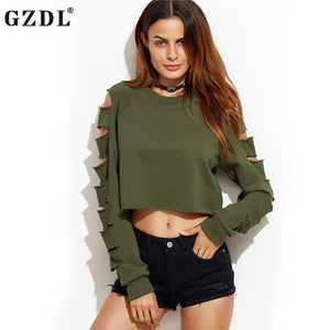 Holes Long Sleeve Crop Top