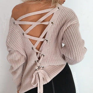 Backless Solid Loose Lace Up Sweater