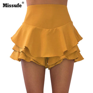 Missufe High Waisted Ruffled Frill Shorts