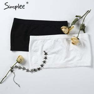 Simplee Soft Elastic Tube Top Soft Strapless Crop Top