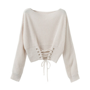 Front Lace Up O Neck Knitted Sweater