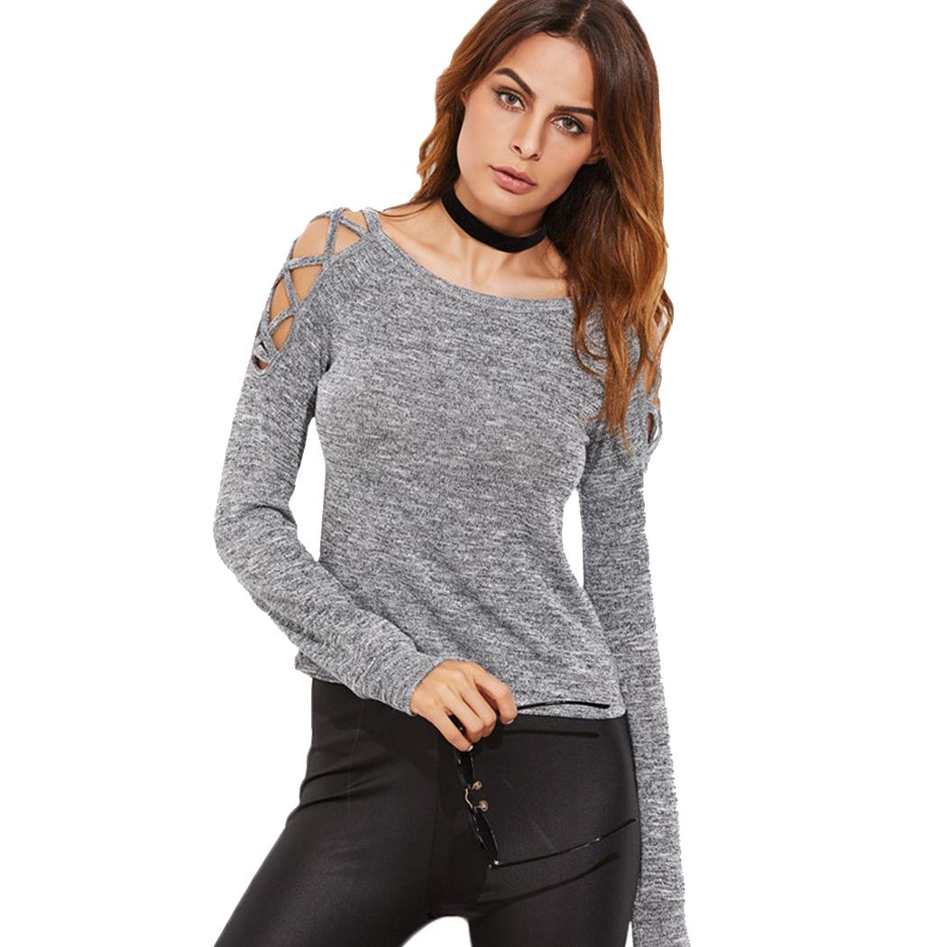 Cold Shoulder Full Sleeve O Neck Top