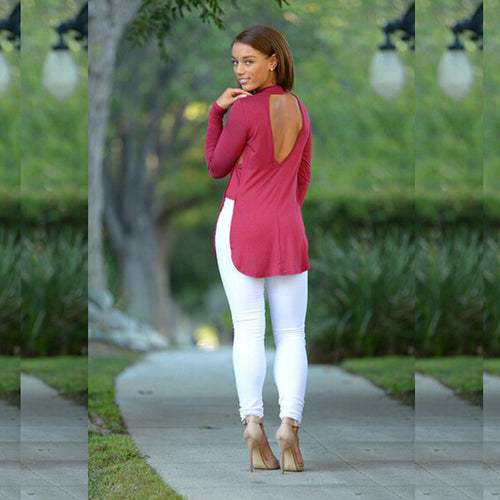 Long Sleeved Halter Slit Shirt