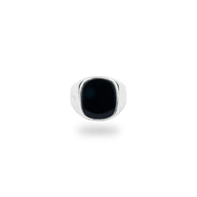 SILVER JAMESTOWN BLACK ONYX SQUARE STONE RING