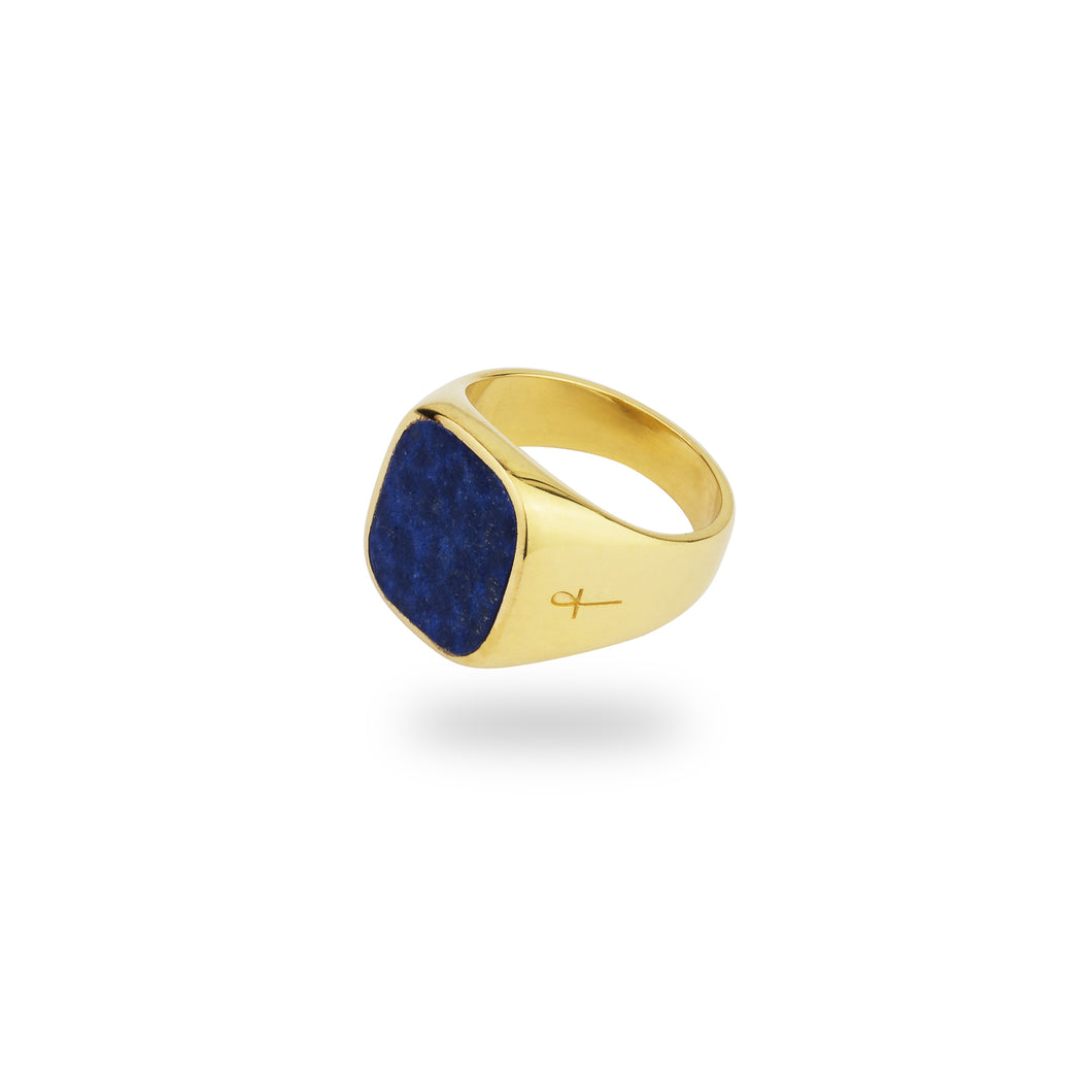 GOLD JAMESTOWN LAPIS LAZULI SQUARE STONE RING