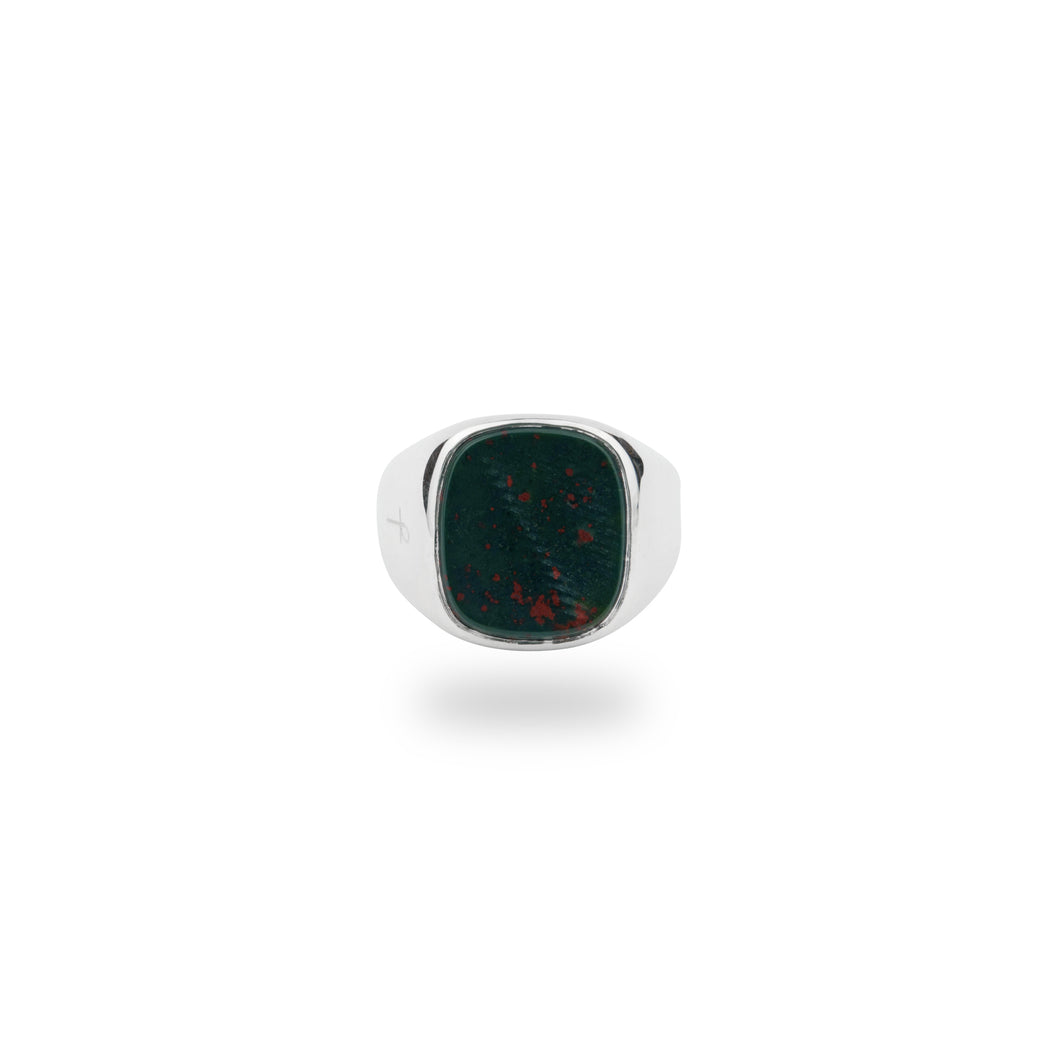 SILVER JAMESTOWN GREEN BLOODSTONE SQUARE STONE RING