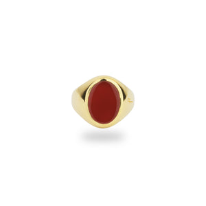 GOLD JAMESTOWN CARNELIAN OVAL STONE RING