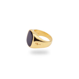 9K GOLD JAMESTOWN ONYX SQUARE STONE RING
