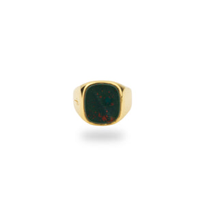 GOLD JAMESTOWN GREEN BLOODSTONE SQUARE STONE RING
