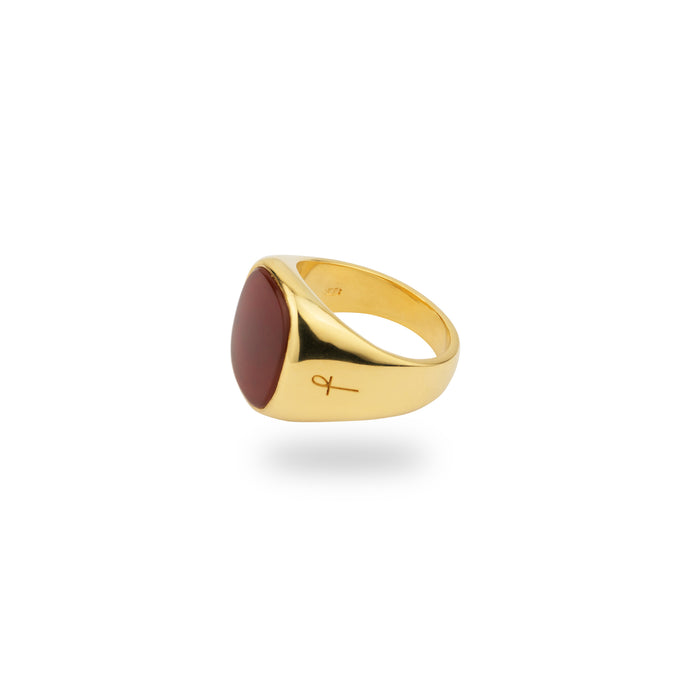 GOLD JAMESTOWN SQUARE CARNELIAN STONE RING