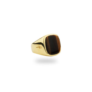 GOLD JAMESTOWN TIGER EYE SQUARE STONE RING