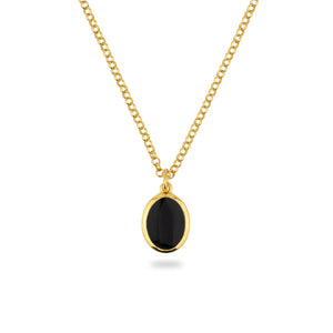 GOLD JAMESTOWN BLACK ONYX OVAL STONE NECKLACE & PENDANT