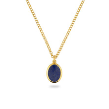 GOLD JAMESTOWN LAPIS LAZULI OVAL STONE NECKLACE & PENDANT
