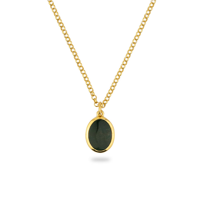 GOLD JAMESTOWN GREEN BLOODSTONE OVAL STONE NECKLACE & PENDANT