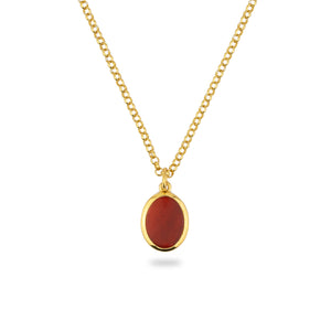 GOLD JAMESTOWN CARNELIAN OVAL STONE NECKLACE & PENDANT