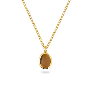 GOLD JAMESTOWN TIGER EYE OVAL STONE NECKLACE & PENDANT