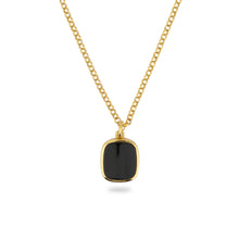 GOLD JAMESTOWN BLACK ONYX SQUARE STONE NECKLACE & PENDANT