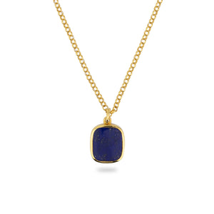 GOLD JAMESTOWN LAPIS LAZULI SQUARE STONE NECKLACE & PENDANT