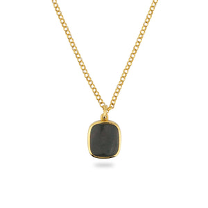 GOLD JAMESTOWN GREEN BLOODSTONE SQUARE STONE NECKLACE & PENDANT
