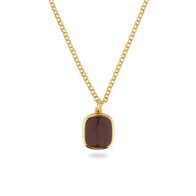 GOLD JAMESTOWN CARNELIAN SQUARE STONE NECKLACE & PENDANT