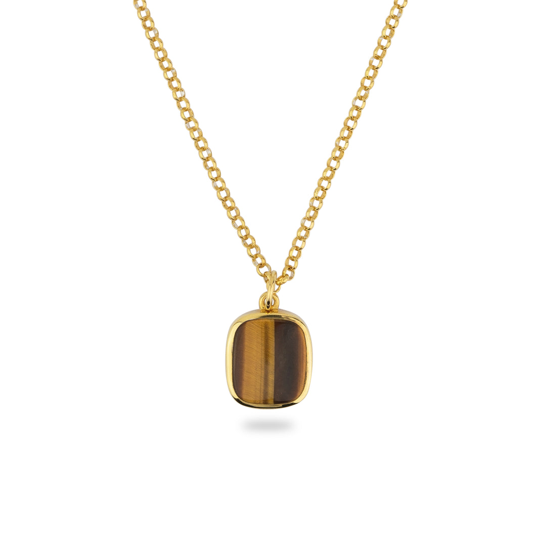 GOLD JAMESTOWN TIGER EYE SQUARE STONE NECKLACE & PENDANT
