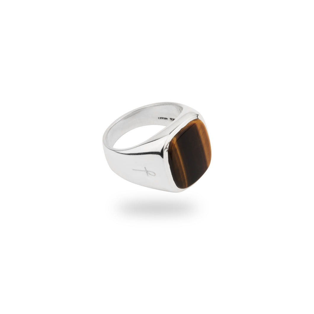 SILVER JAMESTOWN TIGER EYE SQUARE STONE RING