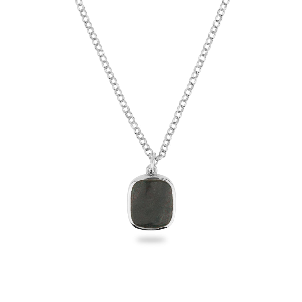 SILVER JAMESTOWN GREEN BLOODSTONE SQUARE STONE NECKLACE & PENDANT