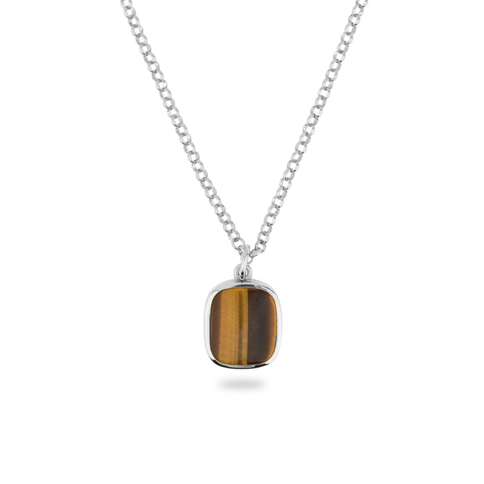 SILVER JAMESTOWN TIGER EYE SQUARE STONE NECKLACE & PENDANT